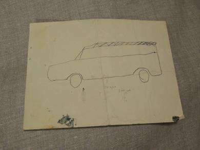 子供の絵-車